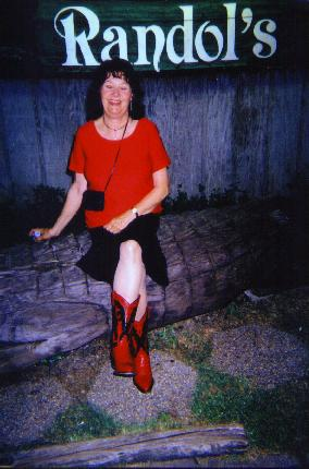 Margot at Randol\'s Restaurant in Lafayette with her dancing boots on.