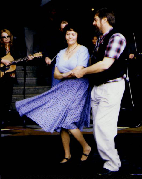 Cajun dancing  with Ray Simpson at Southbanks, Melbourne 2000.